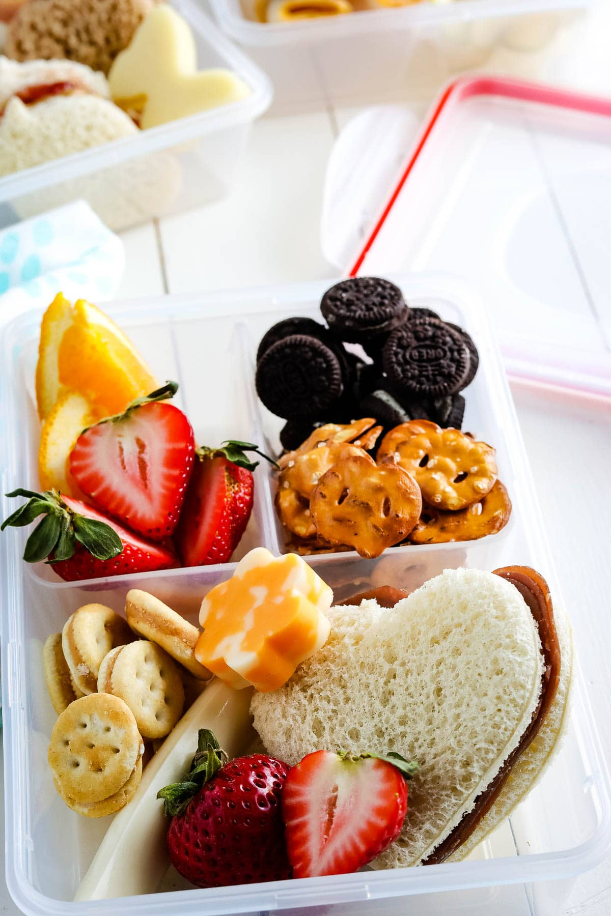 Lunch box with sandwich, fruit, pretzels, cookies and more