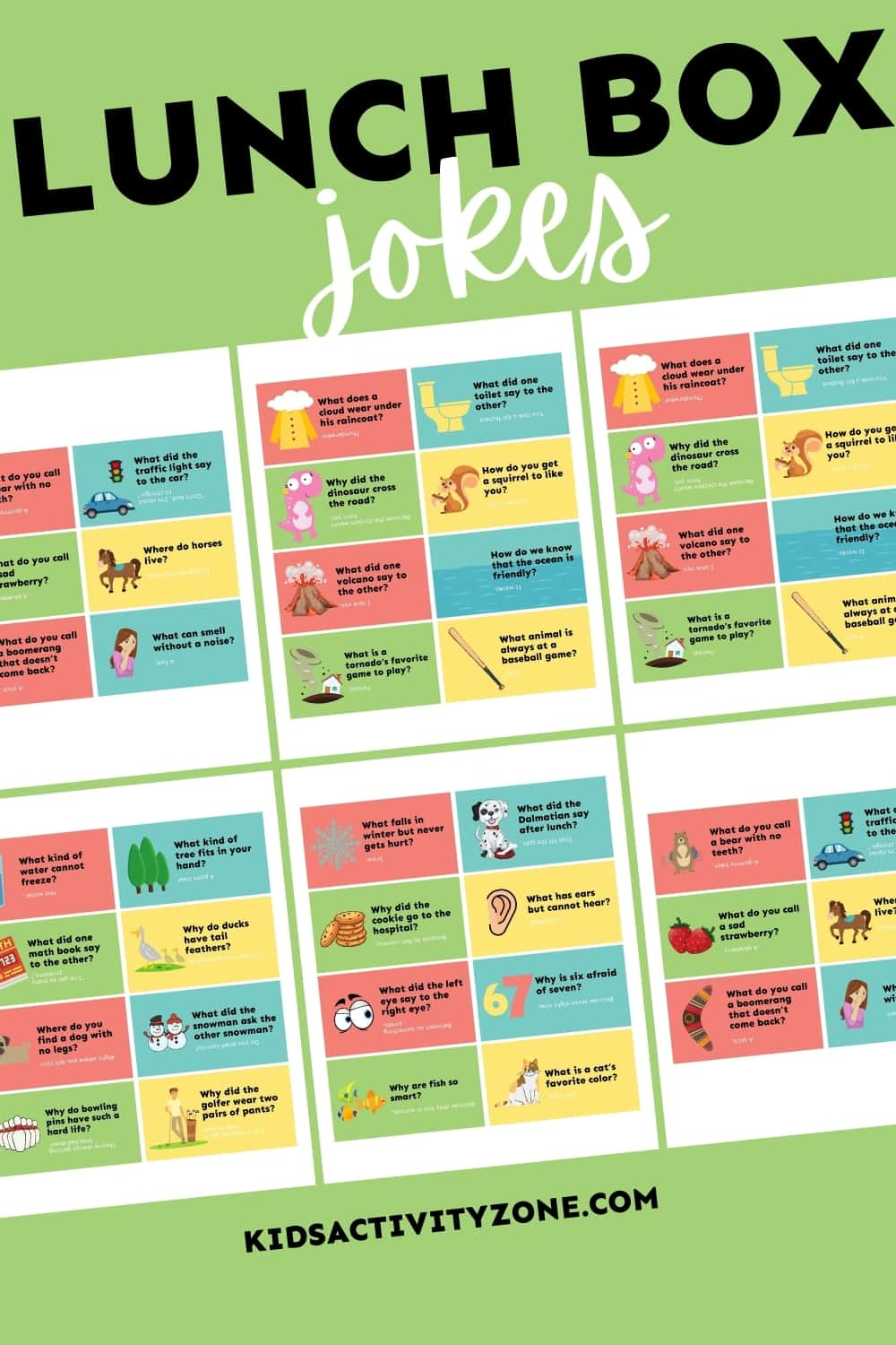 Surprise your kids with these funny Lunch Box Jokes! They will love opening up their lunch box to find one of these jokes tucked inside. Grab this free printable to put a smile on your kids face during lunchtime.