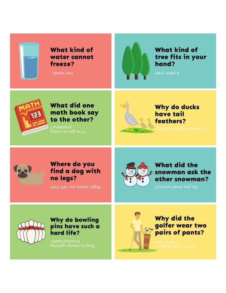 Free printable lunch box jokes collage
