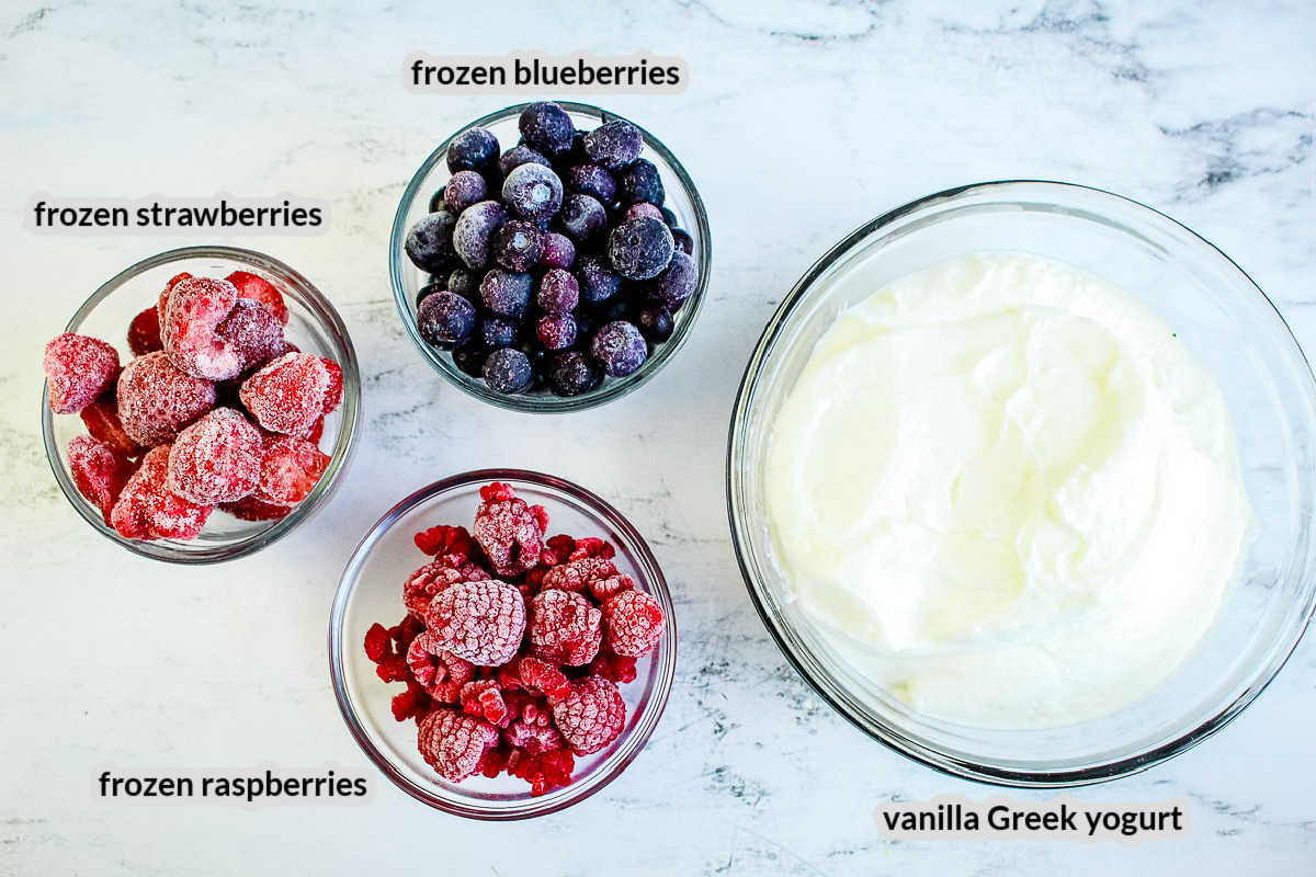 Overhead Image of Mixed Berry Popsicles Ingredients