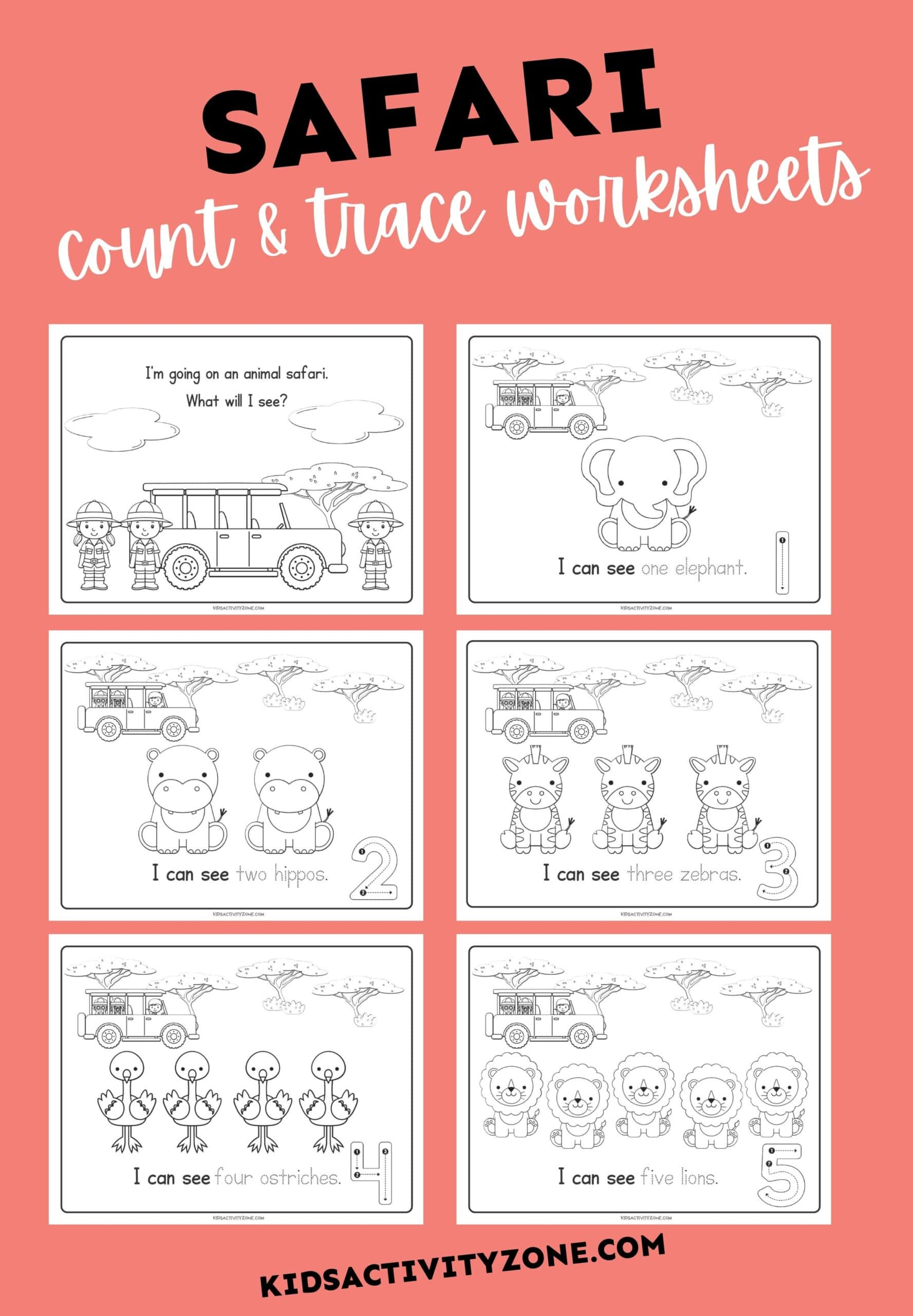 Safari Count & Trace Worksheets - Featured Image