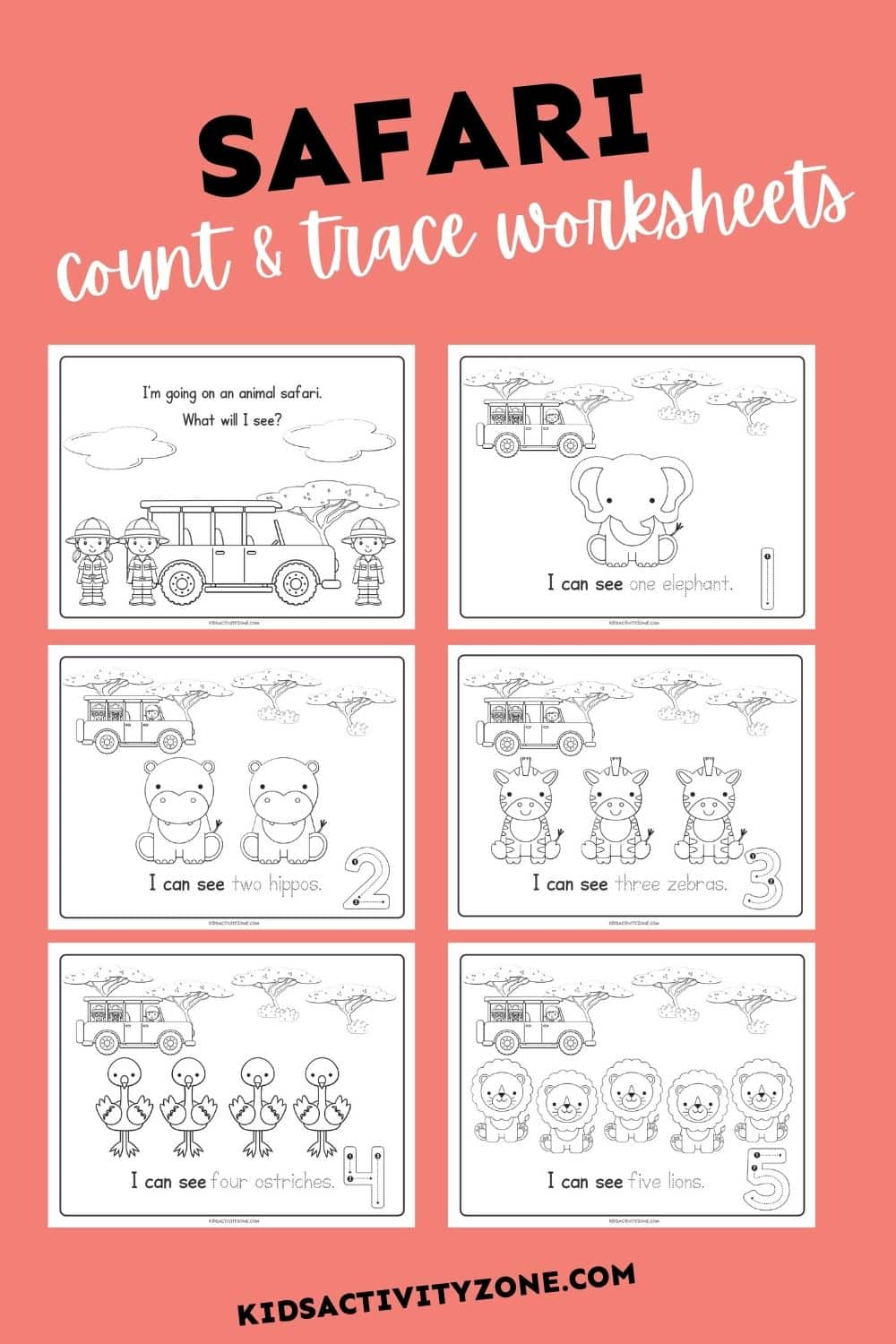 These cute, free printable count and trace worksheets are the perfect way to help your child learn their numbers! They are geared towards preschoolers and kindergarteners. Count the Safari animals in these fun number tracing worksheets, plus color the picture.