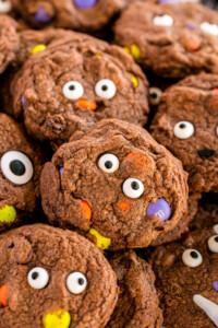 Close up image of chocolate Halloween Cookies