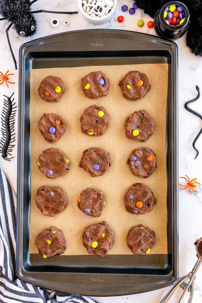 Raw chocolate cookies with M&Ms in them