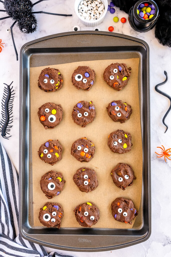Sheet pan with raw chocolate monster cookies