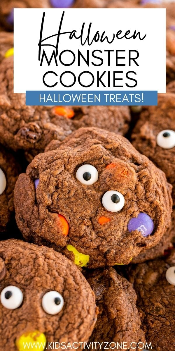 These spooky, scary delicious Halloween Monster Cookies are fudgy, chewy, and soft, pretty much the perfect cookie! They are an easy party ready crowd pleaser for your next Halloween party or trick or treat get together! Made with chocolate chips and m&ms and decorated with adorable eye candies, they are a chocolate lovers dream and a sure favorite!