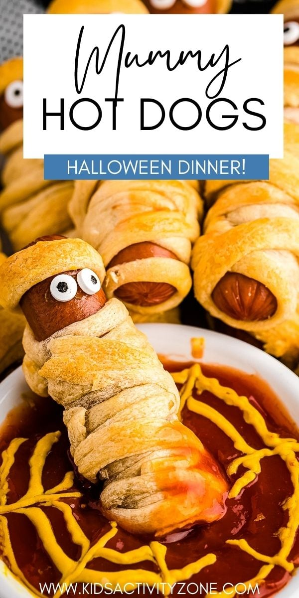 It's Halloween time and we have the perfect Halloween dinner or fun addition to your Halloween Party. These Mummy Hot Dogs start with a hot dog then are wrapped in a crescent roll and finished off with candy eyes to create a mummy!