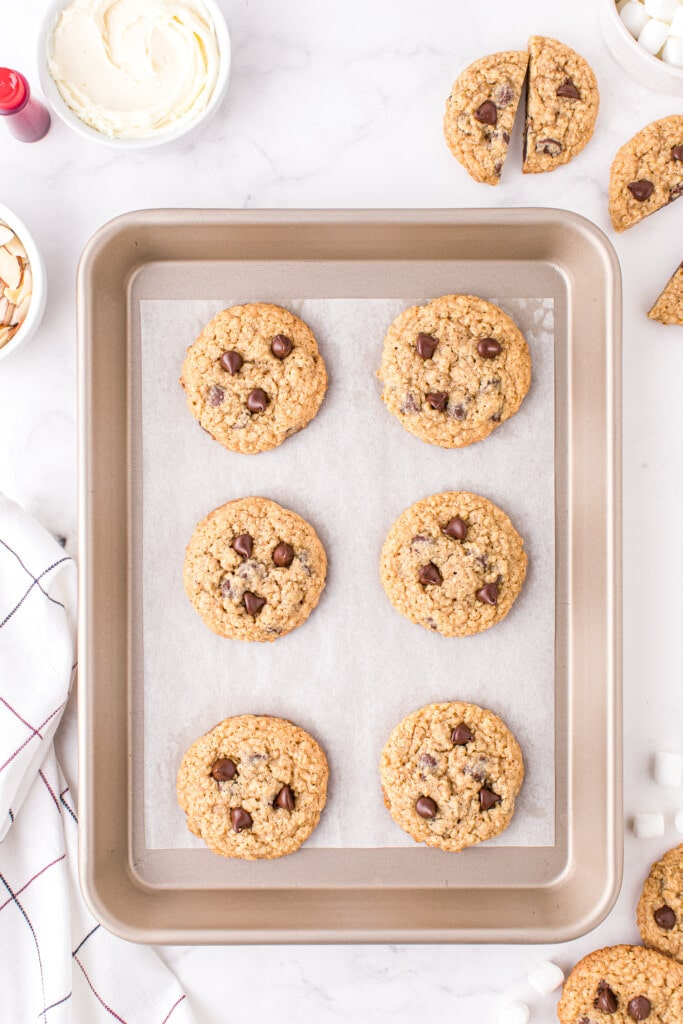 Overhead image of baked oatmeal chocolate chip cookies