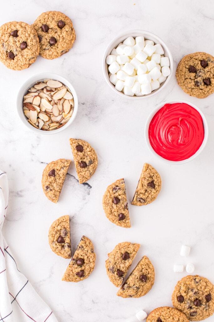 Overhead image of oatmeal cookies cut in half