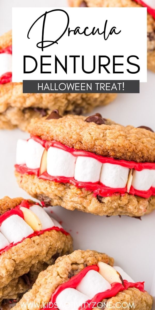 Even Vampires need help with their teeth. Too much sugar in the blood or something. These Dracula Dentures are just what we need! They start with a packaged cookie mix and turn into this fun Halloween recipe.