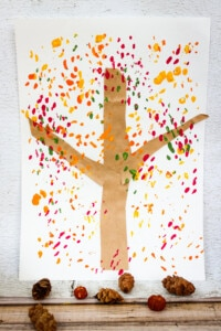 Fall Tree Painting made with pine cones