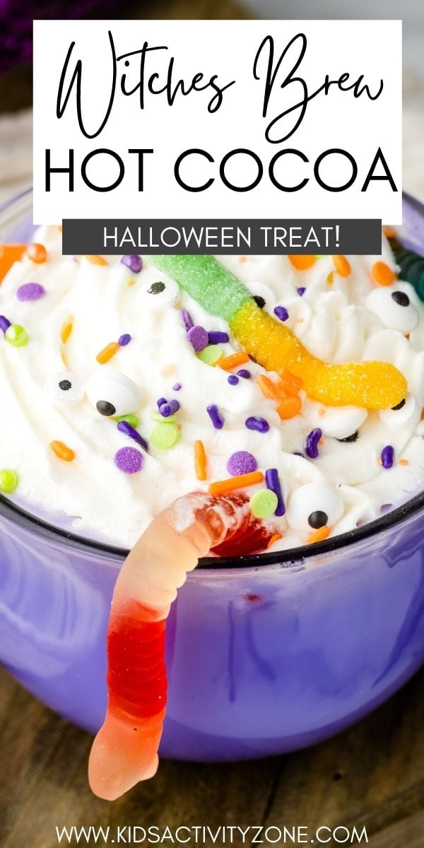 Delicious homemade hot chocolate recipe that is turned into a festive Halloween drink! This Witches Brew Hot Chocolate is colored purple and topped with whipped cream, gummy worms, candy eyes and sprinkles for a creepy, fun beverage the kids will love!